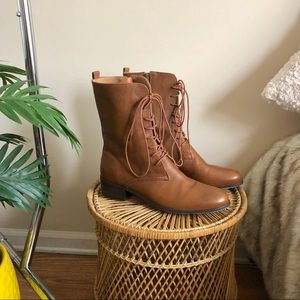 Corso Como Chestnut Brown Lace Up Combat Boots 10